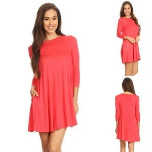 Coral Jersey Knit Swing Tunic Dress with Pockets